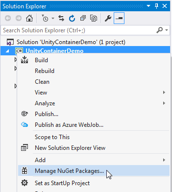 Install Unity Container in Visual Studio