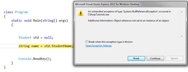 Exception in C#