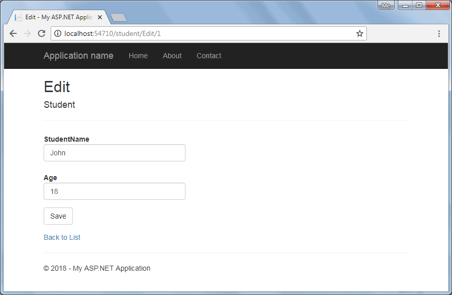 Create Edit View in ASP NET MVC