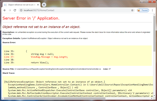 Default error page in MVC