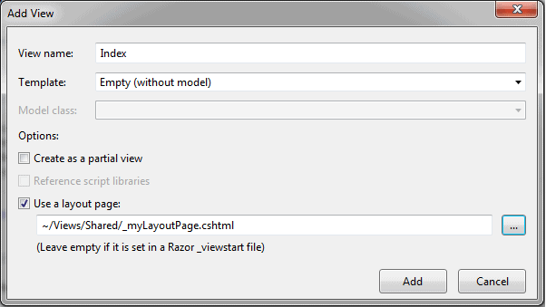 Create Layout View in ASP NET MVC