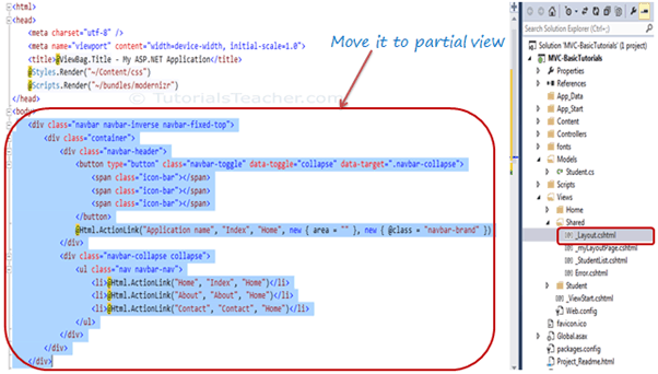 Partial View in ASP NET MVC